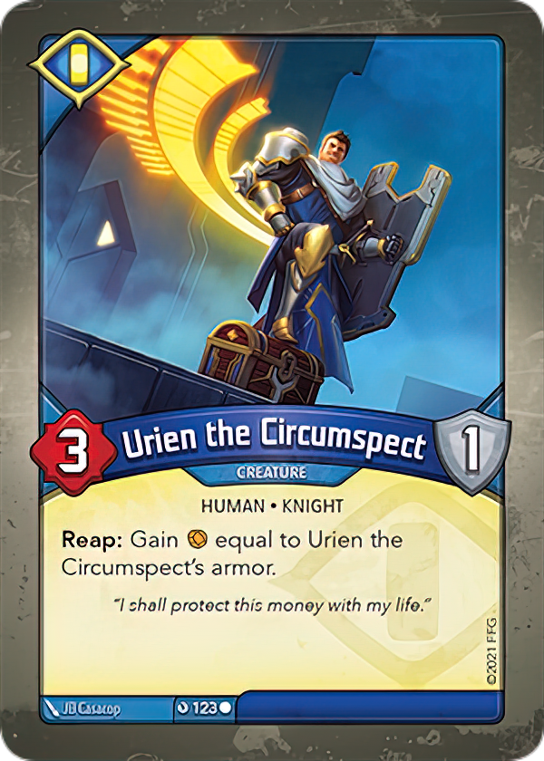 Urien the Circumspect, a KeyForge card illustrated by JB Casacop