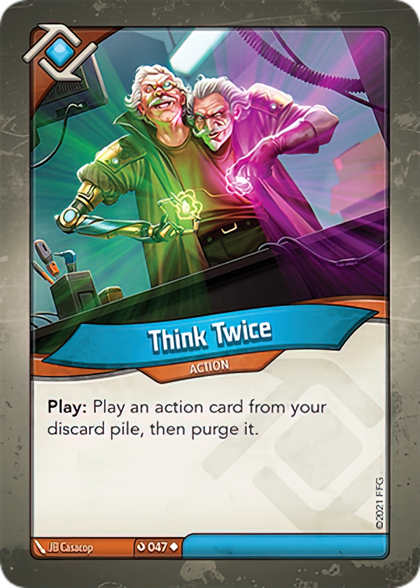 Think Twice, a KeyForge card illustrated by JB Casacop