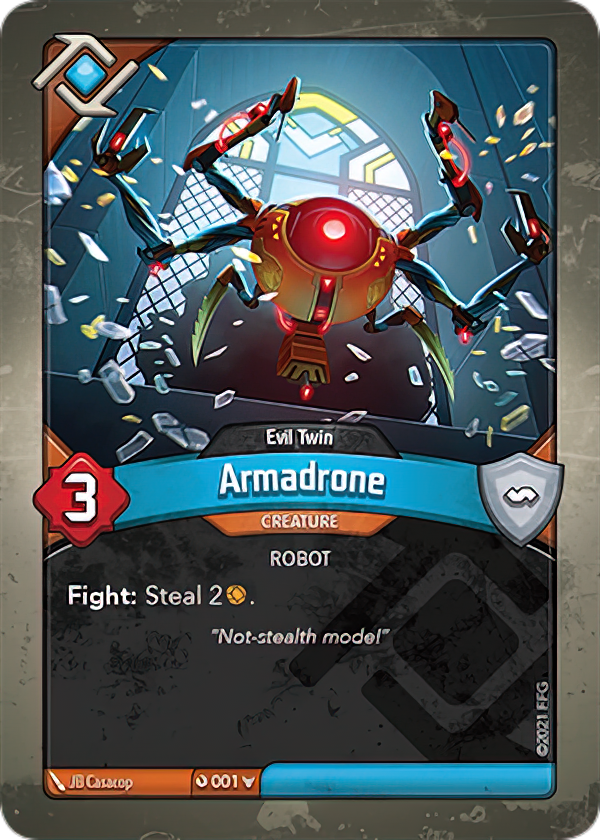 Armadrone (Evil Twin), a KeyForge card illustrated by JB Casacop