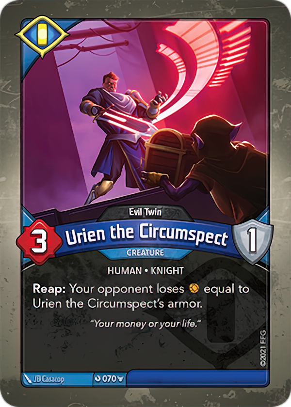 Urien the Circumspect (Evil Twin), a KeyForge card illustrated by JB Casacop
