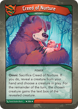 Creed of Nurture, a KeyForge card illustrated by David Auden Nash