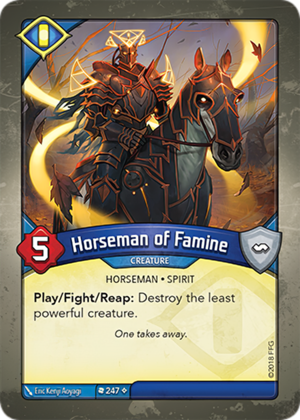 Horseman of Famine, a KeyForge card illustrated by Eric Kenji Aoyagi
