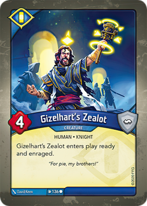 Gizelhart's Zealot, a KeyForge card illustrated by David Keen