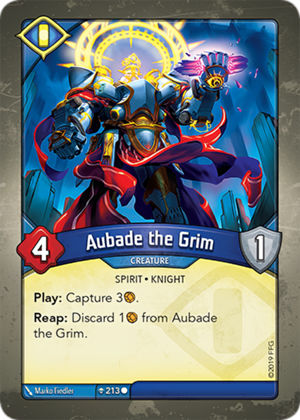 Aubade the Grim, a KeyForge card illustrated by Marko Fiedler