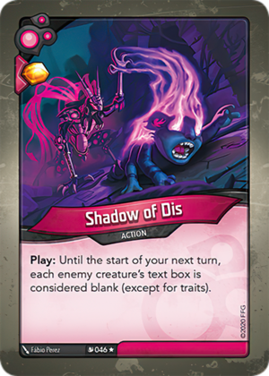 Shadow of Dis, a KeyForge card illustrated by Fábio Perez