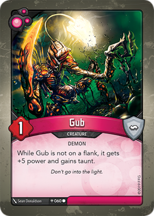 Gub, a KeyForge card illustrated by Sean Donaldson