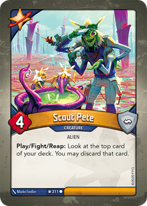 Scout Pete, a KeyForge card illustrated by Marko Fiedler