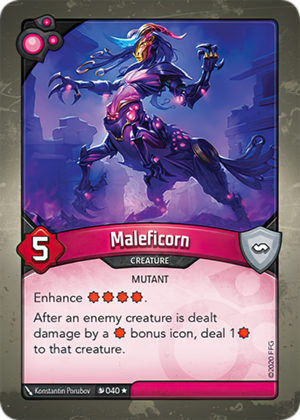 Maleficorn, a KeyForge card illustrated by Konstantin Porubov