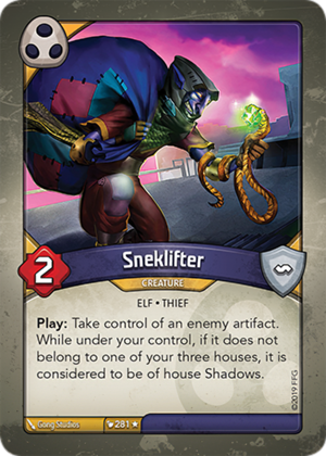 Sneklifter, a KeyForge card illustrated by Gong Studios