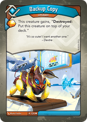 Backup Copy, a KeyForge card illustrated by Marko Fiedler