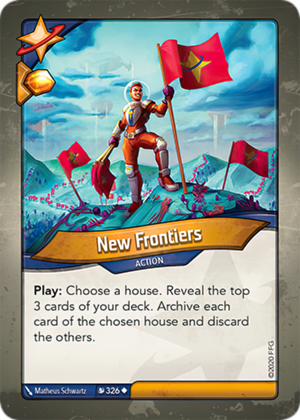 New Frontiers, a KeyForge card illustrated by Matheus Schwartz