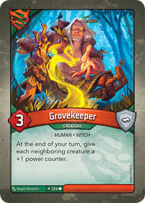 Grovekeeper, a KeyForge card illustrated by Ângelo Bortolini