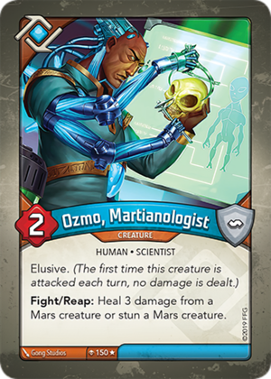 Ozmo, Martianologist, a KeyForge card illustrated by Gong Studios