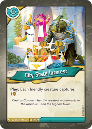 City-State Interest, a KeyForge card illustrated by David Auden Nash