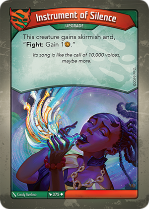 Instrument of Silence, a KeyForge card illustrated by Cindy Avelino