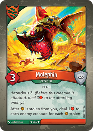 Molephin, a KeyForge card illustrated by Cindy Avelino