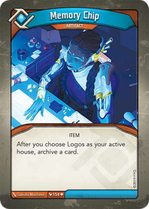 Memory Chip, a KeyForge card illustrated by Gabriela Marchioro
