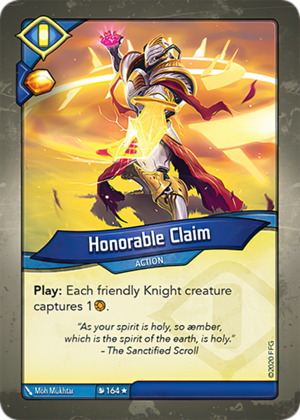 Honorable Claim, a KeyForge card illustrated by Mo Mukhtar