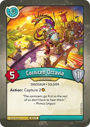 Cornicen Octavia, a KeyForge card illustrated by Dany Orizio