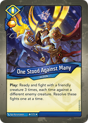 One Stood Against Many, a KeyForge card illustrated by Agri Karuniawan