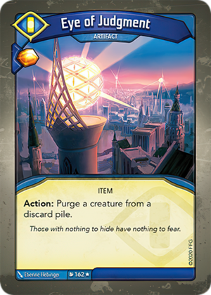 Eye of Judgment, a KeyForge card illustrated by Etienne Hebinger