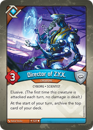 Director of Z.Y.X., a KeyForge card illustrated by Radial Studio