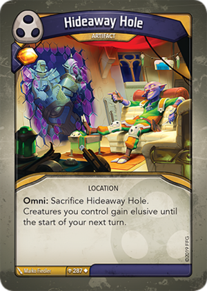 Hideaway Hole, a KeyForge card illustrated by Marko Fiedler