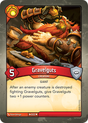 Gravelguts, a KeyForge card illustrated by Adam Vehige