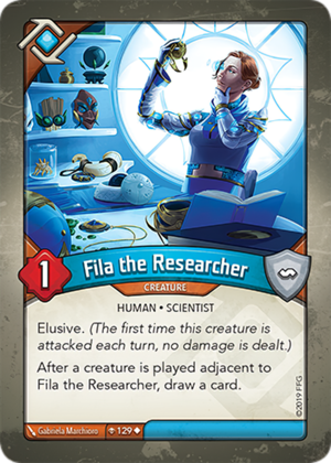 Fila the Researcher, a KeyForge card illustrated by Gabriela Marchioro