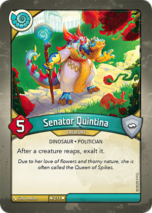 Senator Quintina, a KeyForge card illustrated by Cindy Avelino
