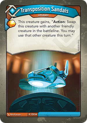 Transposition Sandals, a KeyForge card illustrated by Atha Kanaani
