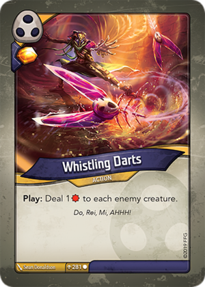 Whistling Darts, a KeyForge card illustrated by Sean Donaldson