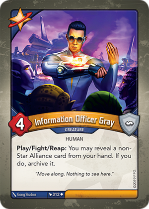 Information Officer Gray, a KeyForge card illustrated by Gong Studios