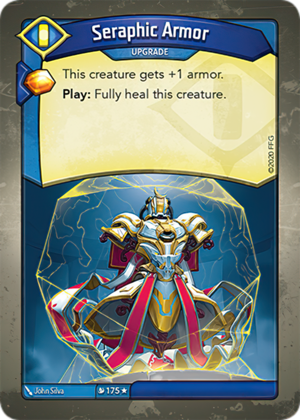 Seraphic Armor, a KeyForge card illustrated by John Silva