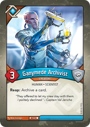 Ganymede Archivist, a KeyForge card illustrated by Matt Zeilinger