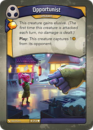Opportunist, a KeyForge card illustrated by David Keen
