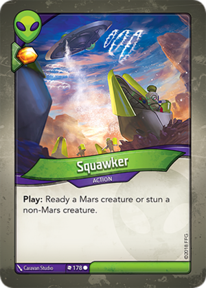 Squawker, a KeyForge card illustrated by Caravan Studio