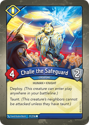 Challe the Safeguard, a KeyForge card illustrated by David Auden Nash