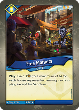 Free Markets, a KeyForge card illustrated by Gong Studios