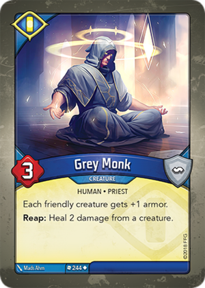 Grey Monk, a KeyForge card illustrated by Mads Ahm