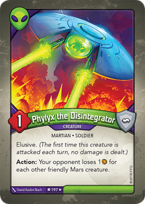 Phylyx the Disintegrator, a KeyForge card illustrated by David Auden Nash