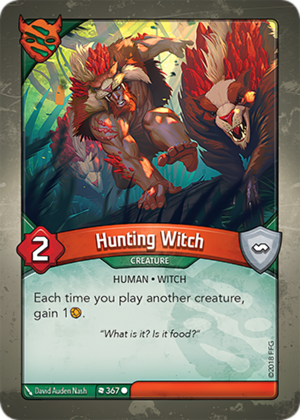 Hunting Witch, a KeyForge card illustrated by David Auden Nash