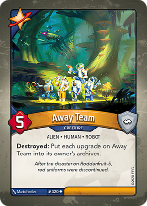 Away Team, a KeyForge card illustrated by Marko Fiedler