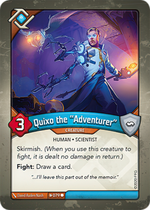 "Quixo the ""Adventurer"", a KeyForge card illustrated by David Auden Nash"