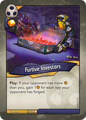 Furtive Investors, a KeyForge card illustrated by Fábio Perez