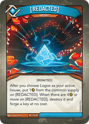 (REDACTED), a KeyForge card illustrated by Grigory Serov