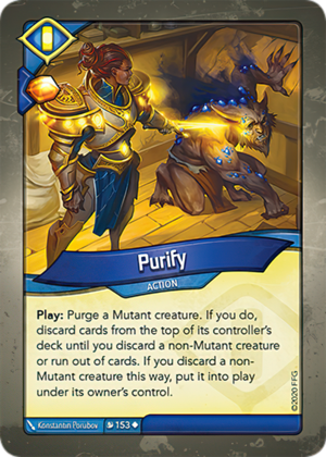 Purify, a KeyForge card illustrated by Konstantin Porubov