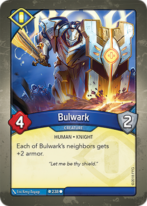 Bulwark, a KeyForge card illustrated by Eric Kenji Aoyagi