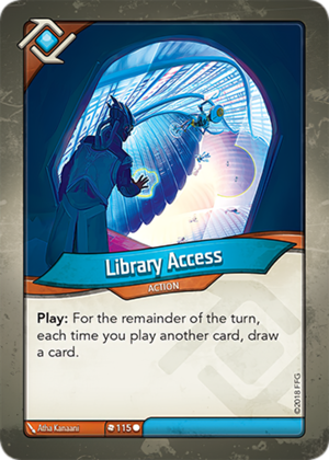 Library Access, a KeyForge card illustrated by Atha Kanaani