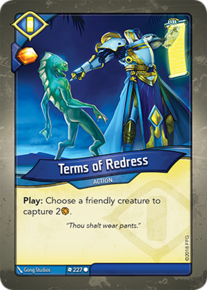 Terms of Redress, a KeyForge card illustrated by Gong Studios